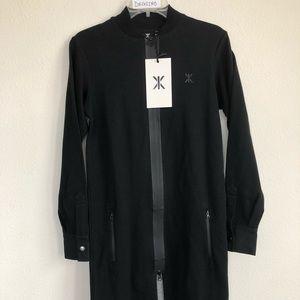 ONEPIECE Black Front zip jumpsuit dress coat XXS
